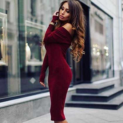 Solid color long-sleeved dress FD11..