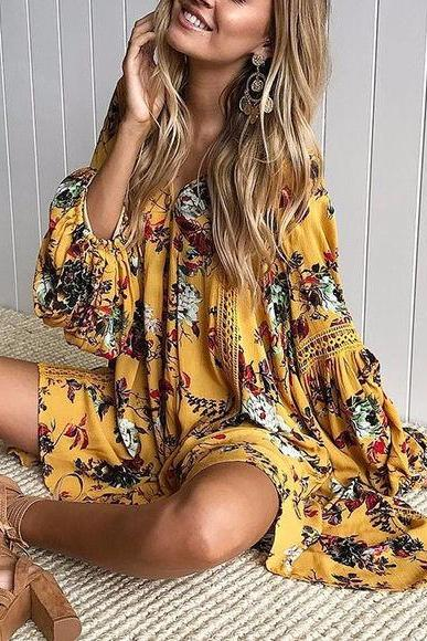 Women's Yellow Floral Print Sleeve Fashion Dress
