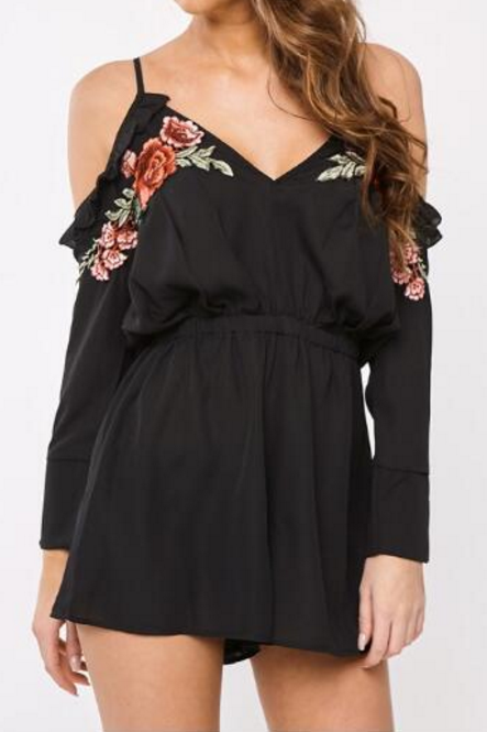 Black Floral Embroidered Plunge V Cold Shoulder Long Sleeved Romper Featuring Ruffle Details and Tie Accent Open Back
