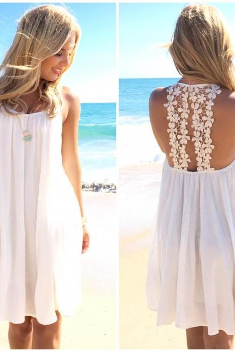 Pure Color Backless Chiffon Dress