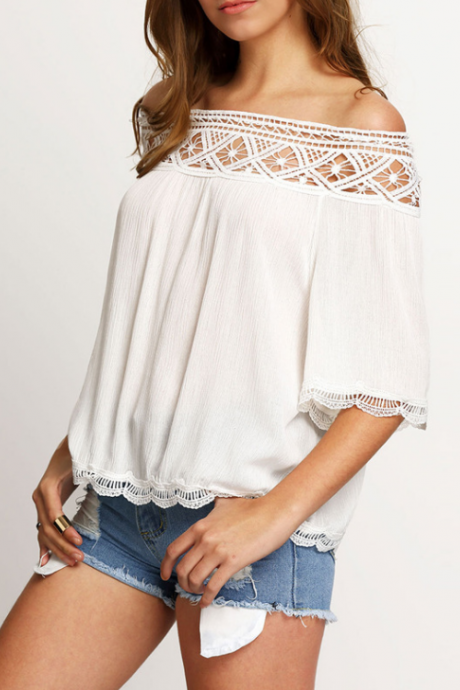 Off-The-Shoulder Lace Patchwork Loose Chiffon Top with Mid-Length Sleeves
