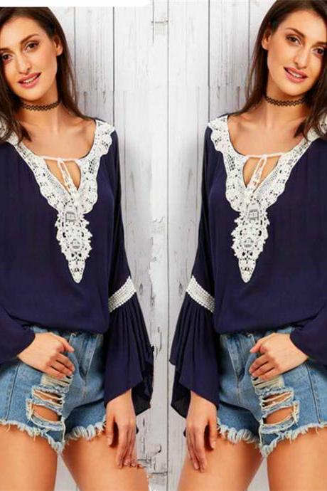 Women'S V-Neck Lace Stitching Chiffon Shirt