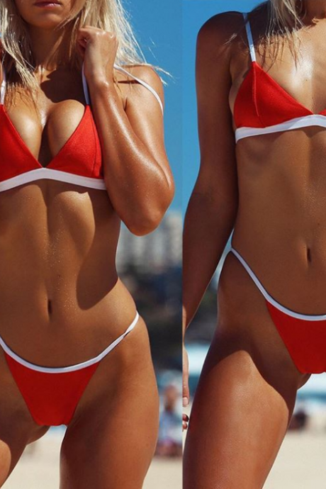Solid Color Sexy Triangle Bikini Swimsuit