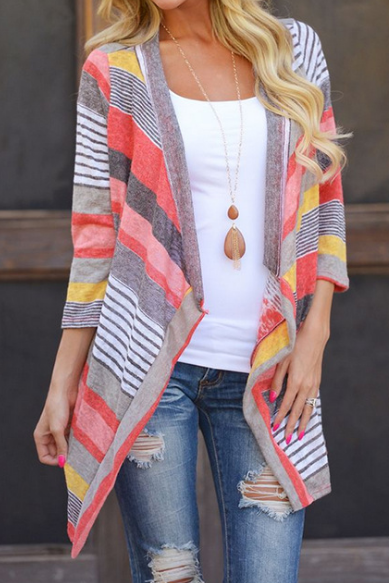 Long-Sleeved Striped Cardigan Jacket