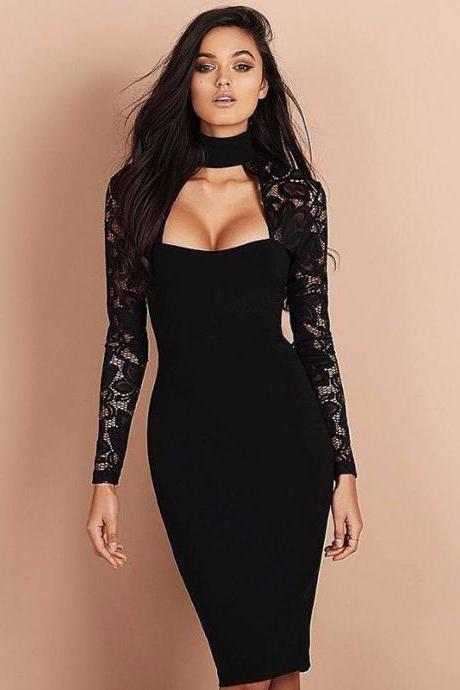 Women'S Long-Sleeved Lace Dress
