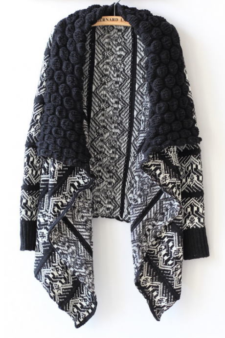 Black and White Aztec Print Cardigan Sweater