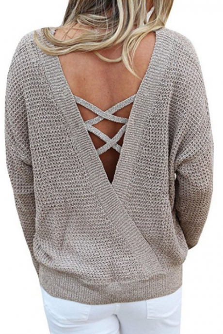 Knitted Crew Neck Long Cuffed Sleeves Sweater Featuring Lace-Up Plunge V Back