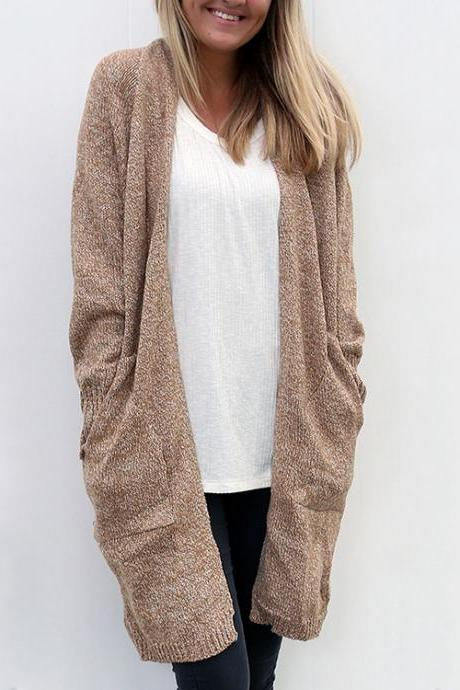 Women'S Loose Pocket Knitted Cardigan Sweater