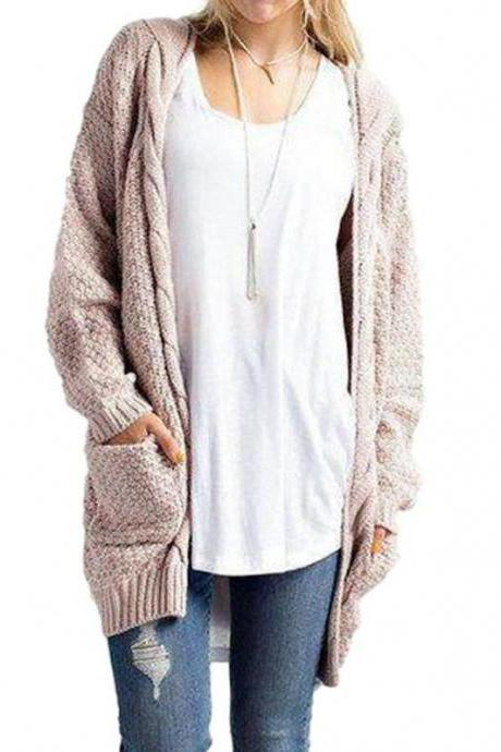 Casual Long Sleeve Cable Knitted Long Sweater Open Cardigan Jacket