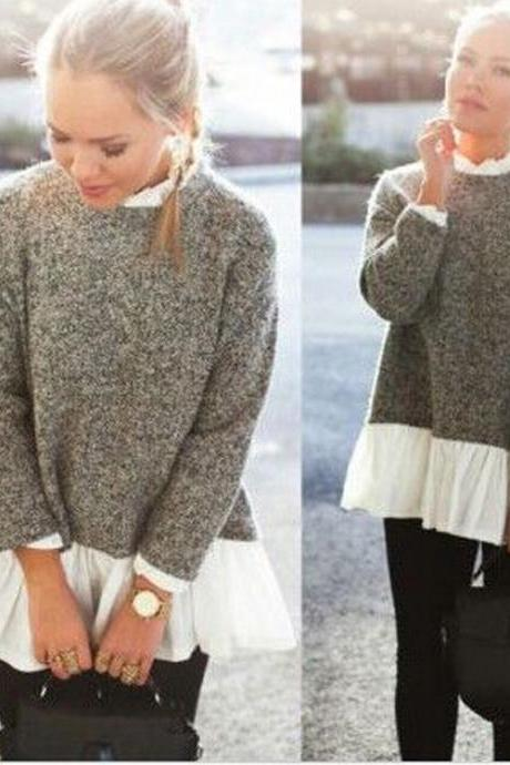 Solid Color Knitting Long-Sleeved Sweater