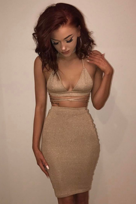 Women Solid Color High Waist Two-Piece Dress