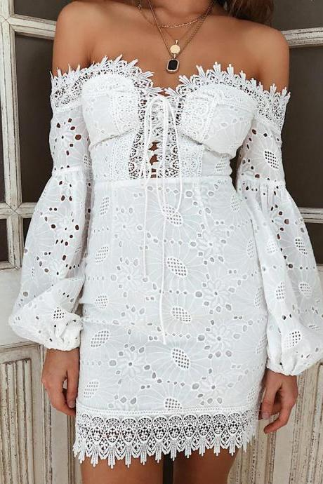 Embroidered Splicing One-Shoulder Long Sleeve Dress