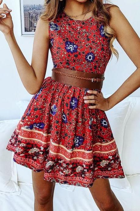 FASHION CASUAL PRINTED ZIPPER ROUND NECK DRESS