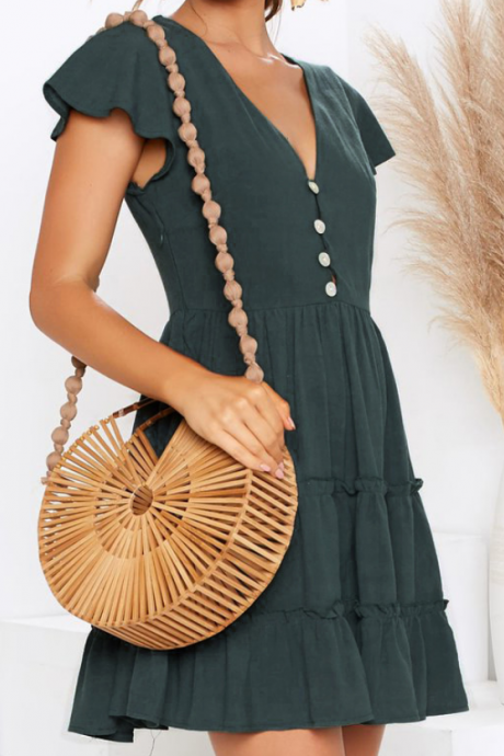 Sweet V-Neck Ruffled Dress