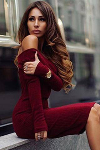 Solid color long-sleeved dress FD111301DF